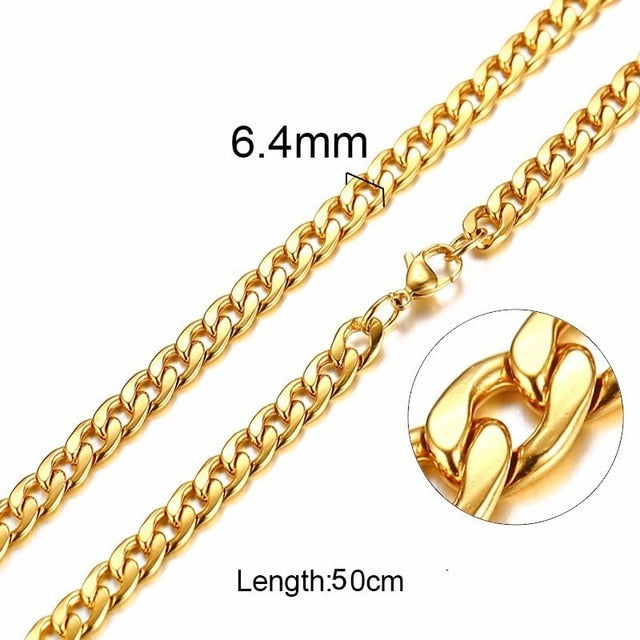 Gold Color Solid Necklace