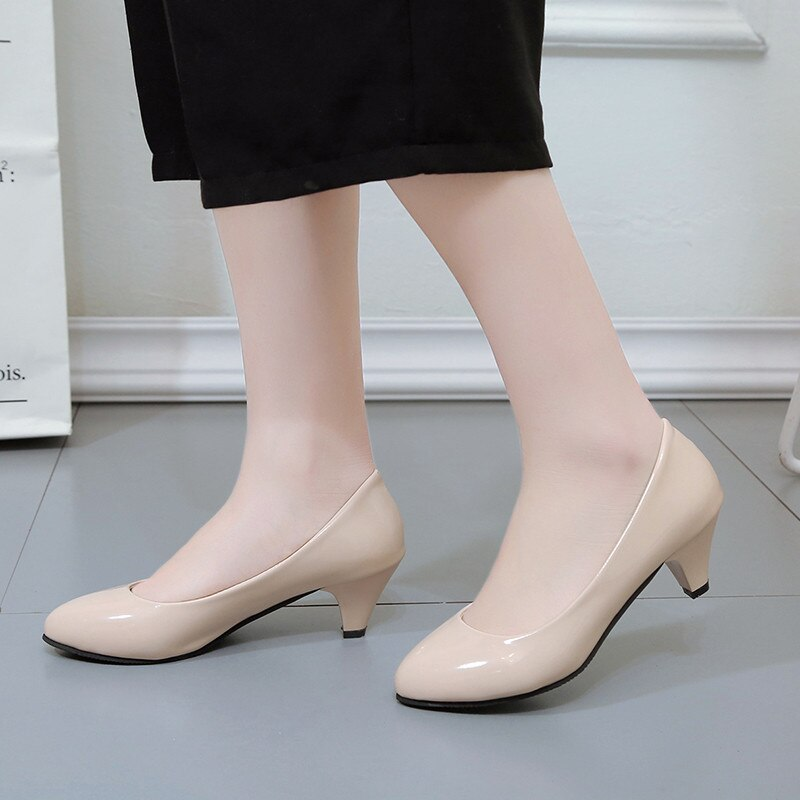 Women's Leather Med Heels