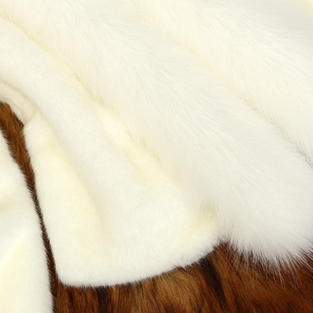 Women Elegant Faux Fur Collar Coat