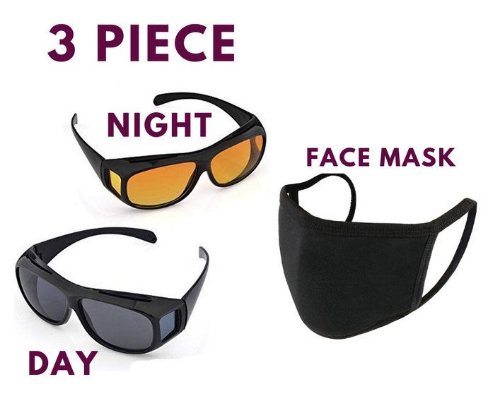 Night Vision Day Vision Goggles for Driving & Face Mask Free (3 Piece) - ZainTen