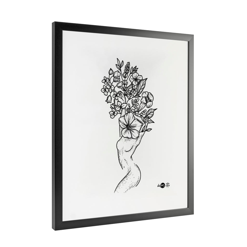 Andrea Din Don - Floral Woman - Framed Art