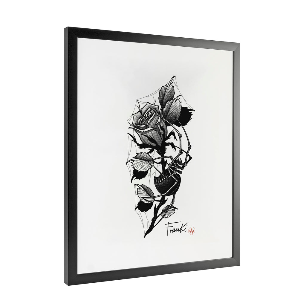 Franki Tattoo - Spider in the Rose - Framed Art