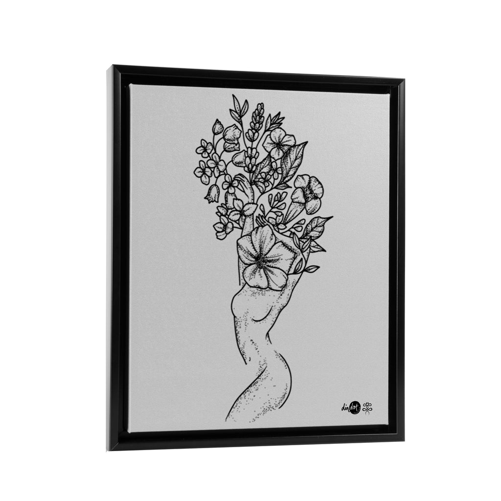 Andrea Din Don - Floral Woman - Floating Frame Canvas