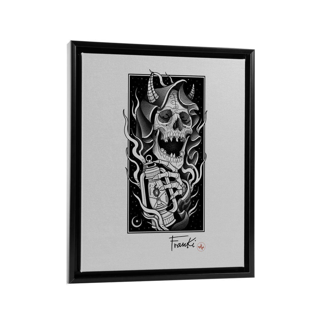 Franki Tattoo - The Light of the Grim Reaper - Floating Frame Canvas