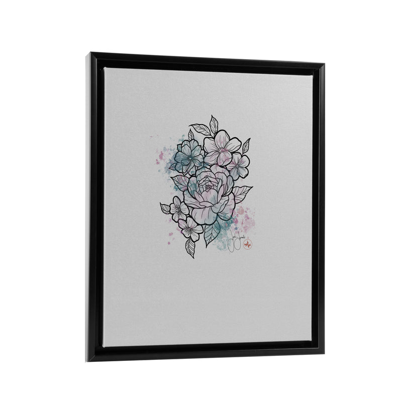 Jordan Rose - Flowers in Pastel - Floating Frame Canvas
