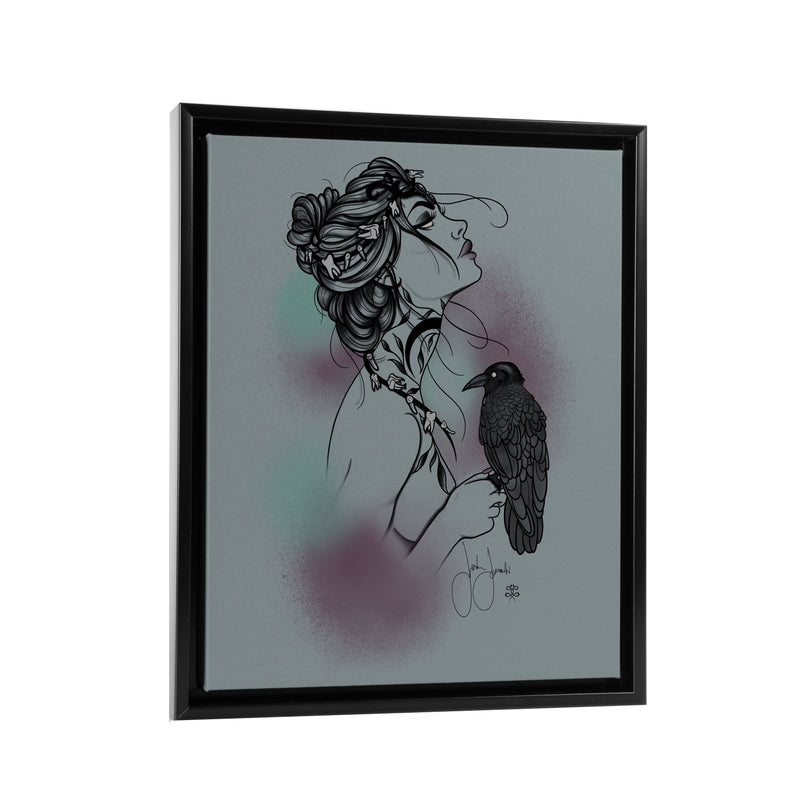 Jordan Rose - Bird Lady - Floating Frame Canvas