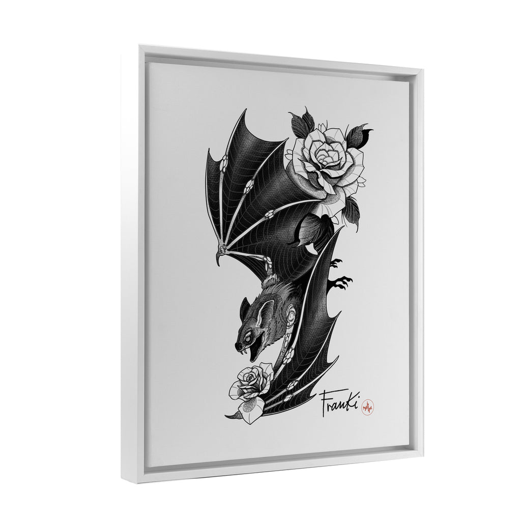 Franki Tattoo - Bat and Roses - Floating Frame Canvas