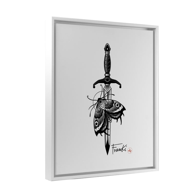 Franki Tattoo - Dagger and Moth - Floating Frame Canvas