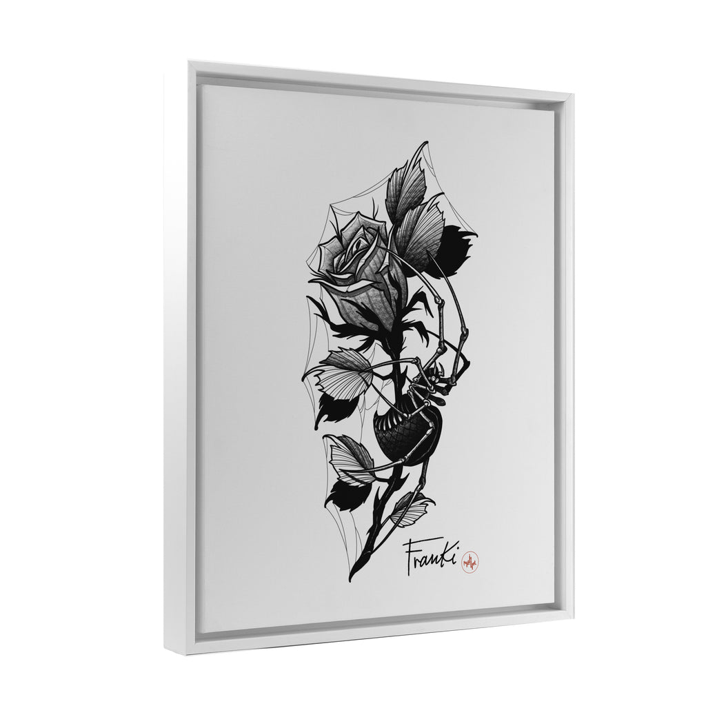 Franki Tattoo - Spider in the Rose - Floating Frame Canvas