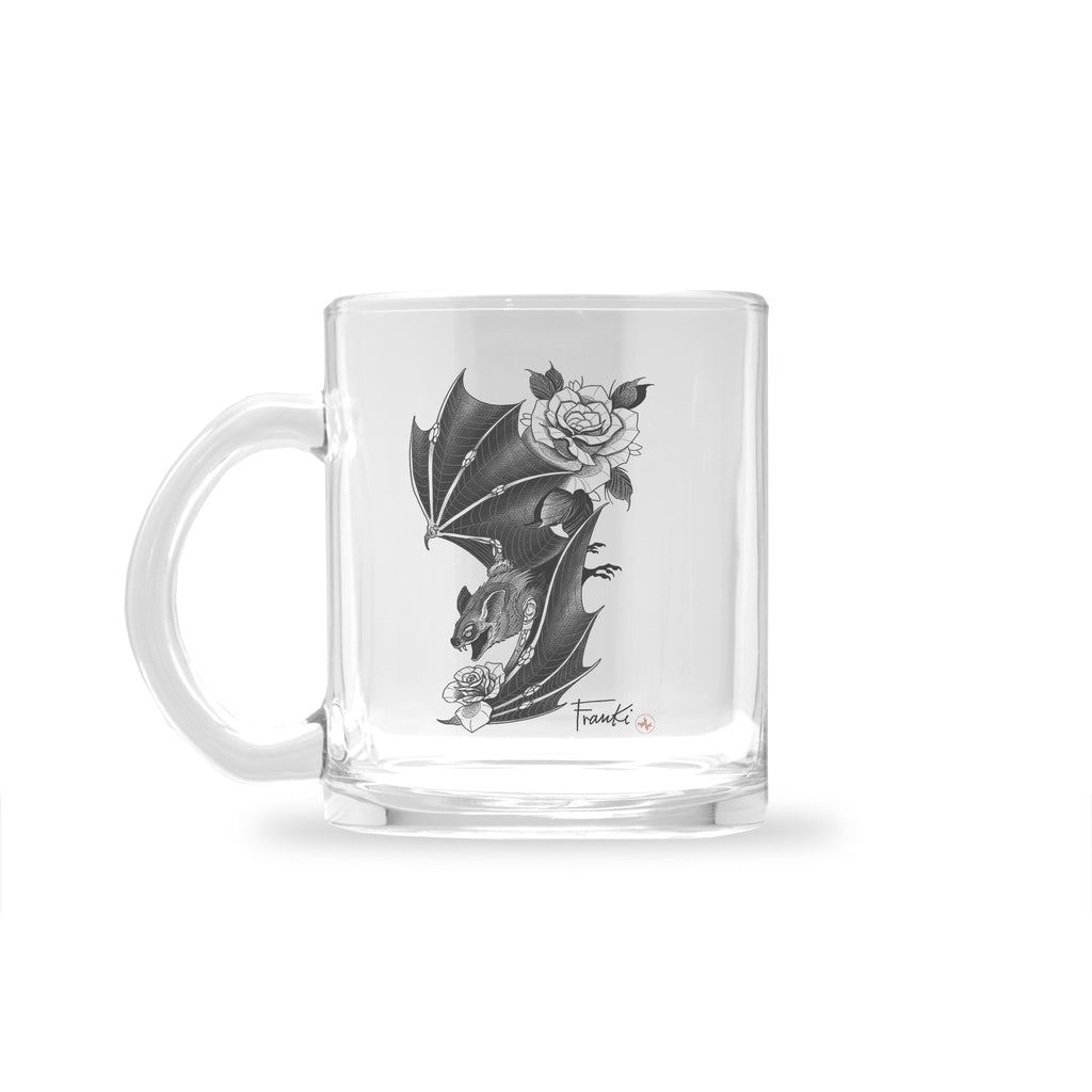 Franki Tattoo - Bat and Roses - Glass Mug