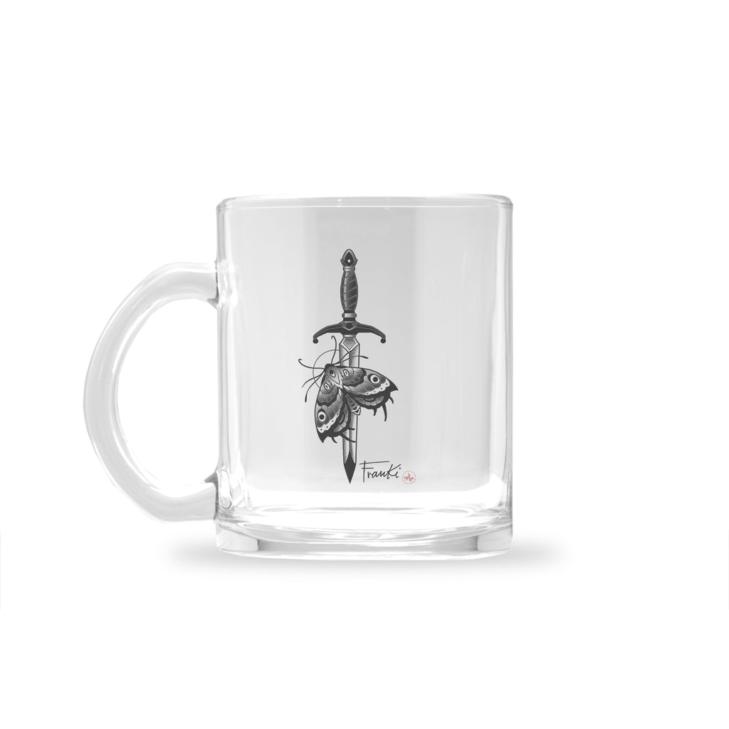 Franki Tattoo - Dagger and Moth - Glass Mug