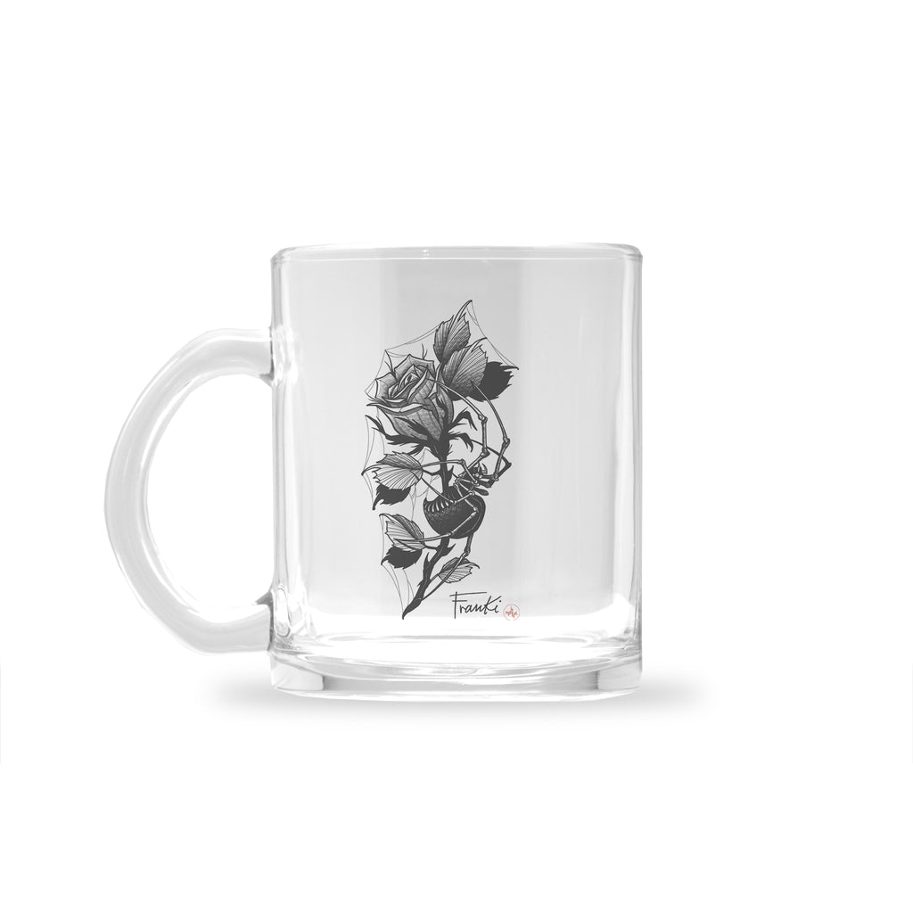 Franki Tattoo - Spider in the Rose - Glass Mug