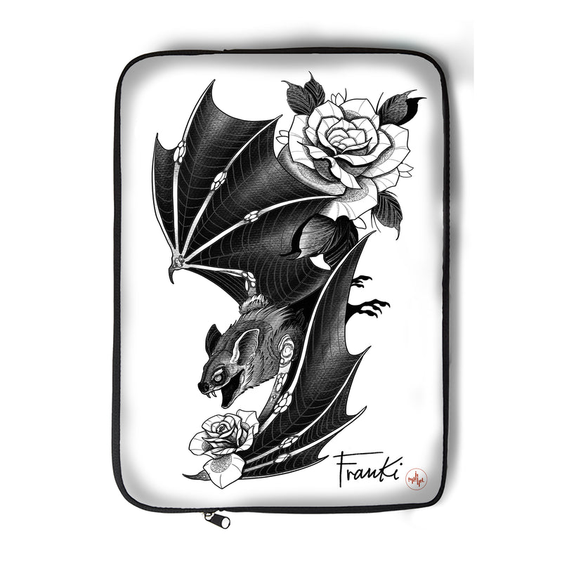 Franki Tattoo - Bat and Roses - Laptop Sleeve