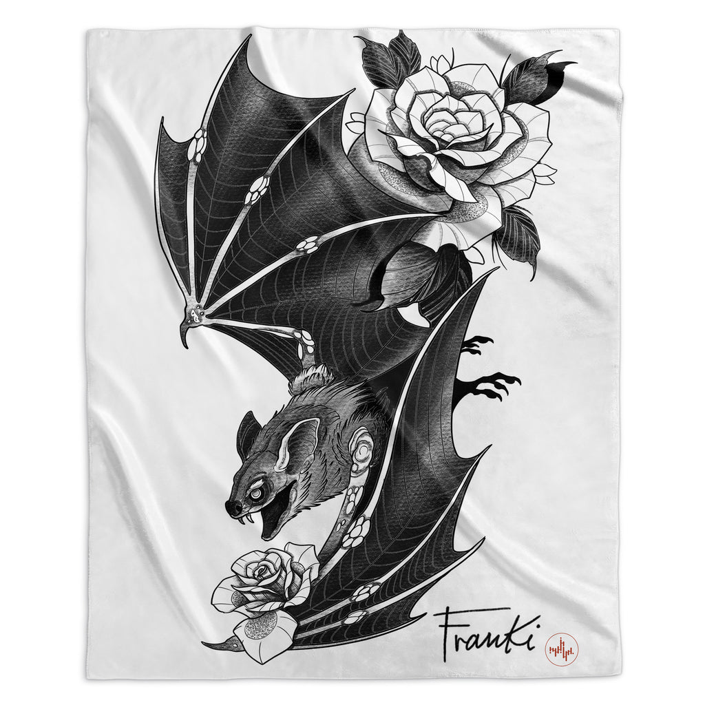 Franki Tattoo - Bat and Roses - Sherpa Blanket
