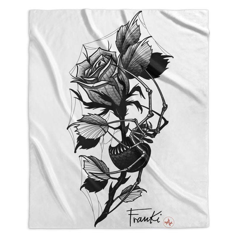 Franki Tattoo - Spider in the Rose - Sherpa Blanket