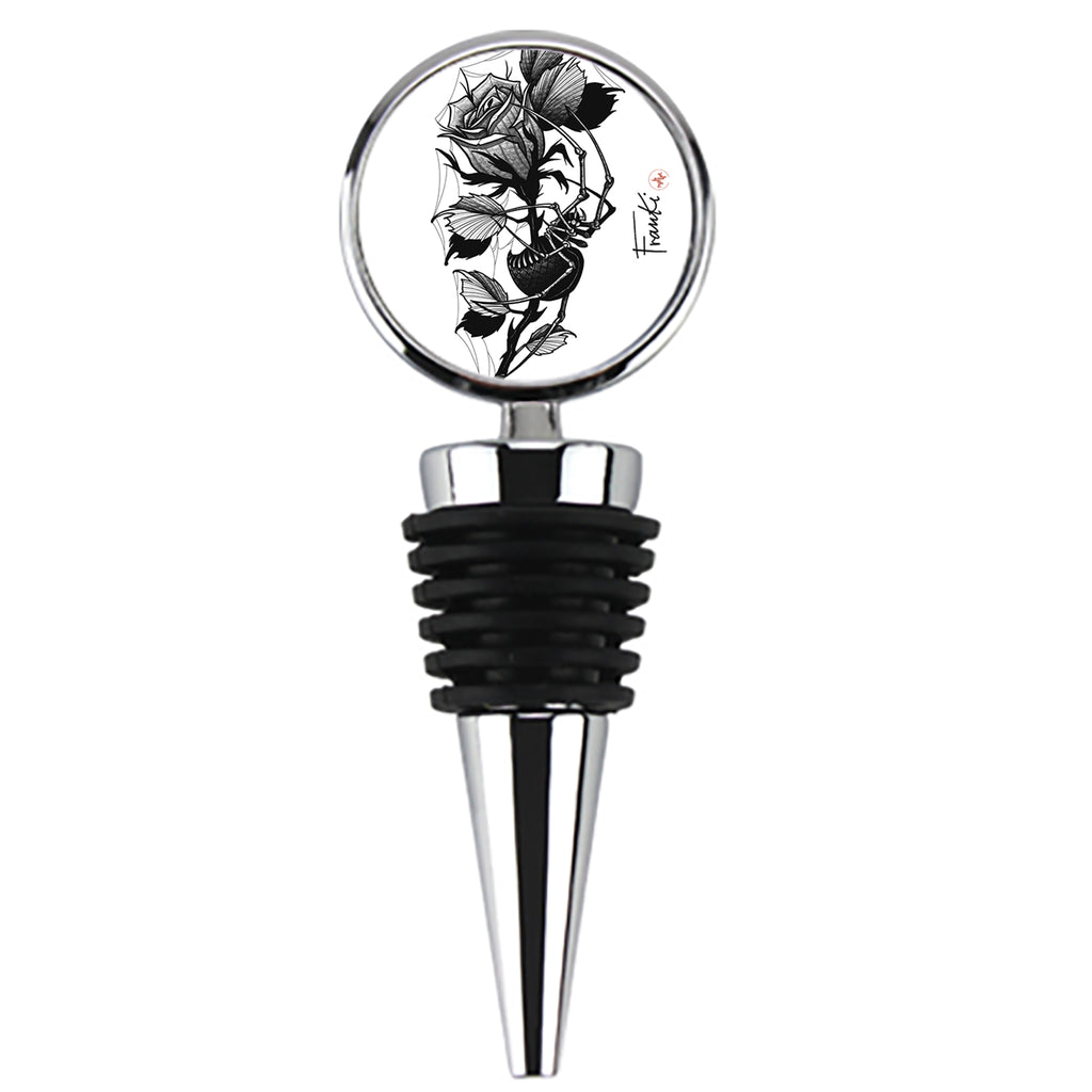 Franki Tattoo - Spider in the Rose - Wine Stopper