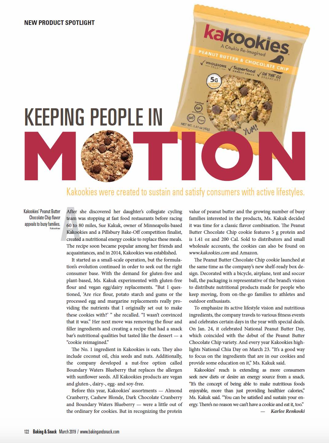 Kakookies featured in New Product Spotlight in Baking and Snack Magazine