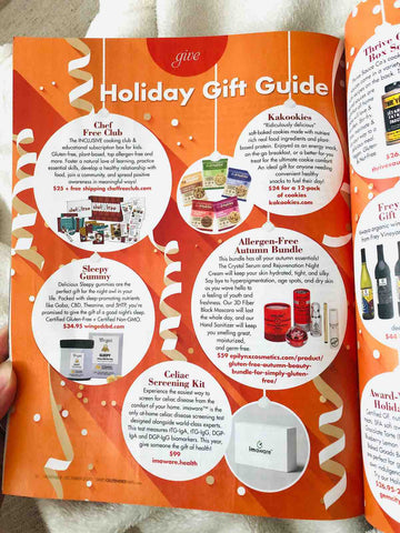 Kakookies featured in Simply Gluten Free magazine holiday gift guide