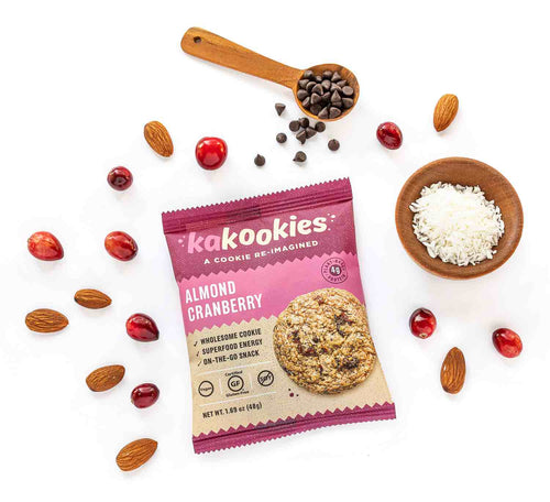 Kakookies Almond Cranberry delicious vegan and gluten free on the go energy snack or breakfast with superfood ingredients like almonds, cranberries, and coconut