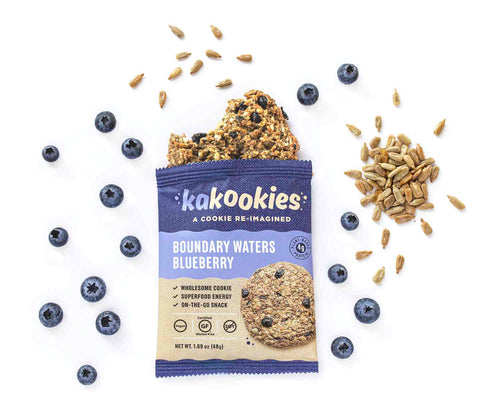 Kakookies Boundary Waters Blueberry energy snack cookie made with blueberries, sunflower seeds, and dried apples
