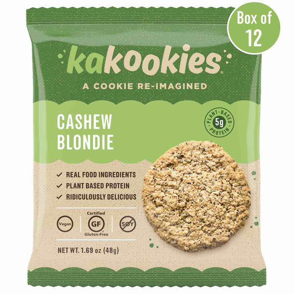 Kakookies Cashew Blondie grab and go vegan and gluten free oatmeal energy snack cookies with superfood ingredients and plant-based protein