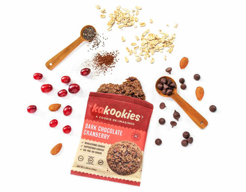 Kakookies Dark Chocolate Cranberry healthier cookies with superfood ingredients like cocoa powder, almonds, cranberries and whole grain oats