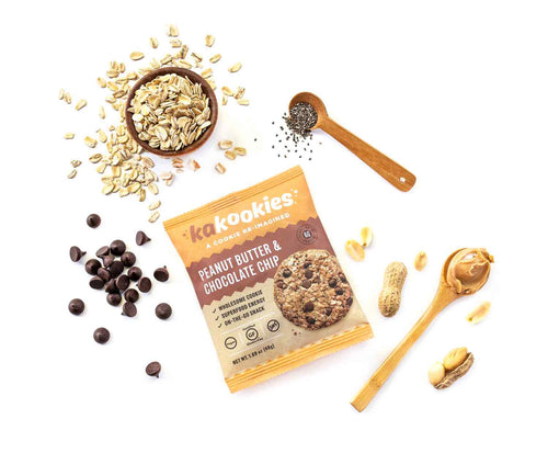 Kakookies Peanut Butter Chocolate Chip energy snack cookies with superfood ingredients and plant based protein from peanuts, chia seeds, and whole grain oats