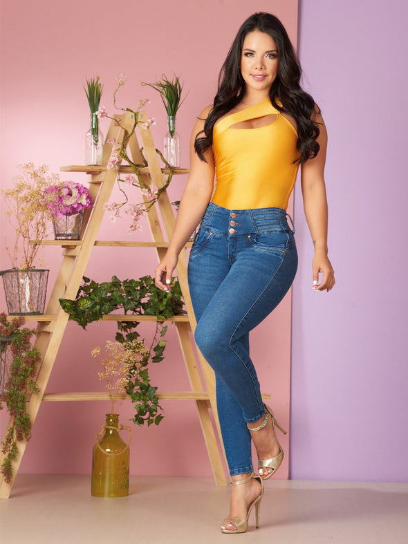 medium blue butt lift jeans cute gold outfit for party gold heels bodysuit colombian woman