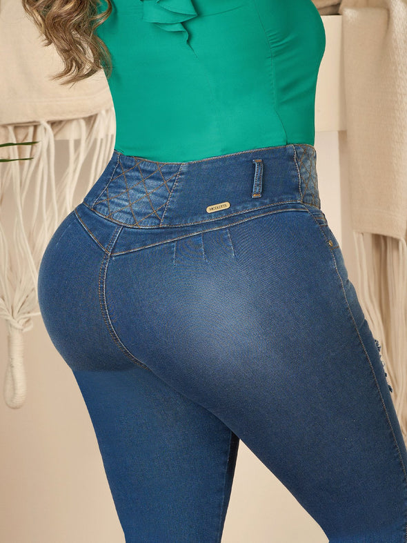 back view curvy model dark wash butt lift jeans skinny fit with criss cross design