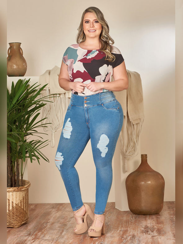 Medium blue wash distress jeans curvy model plus size with bodysuit and nude heels