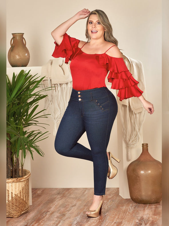 plus size colombian model wearing red top and high heels