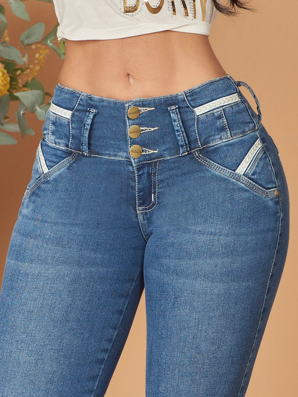 colombian butt lift jeans contour light wash white lines and tummy tuck three buttons