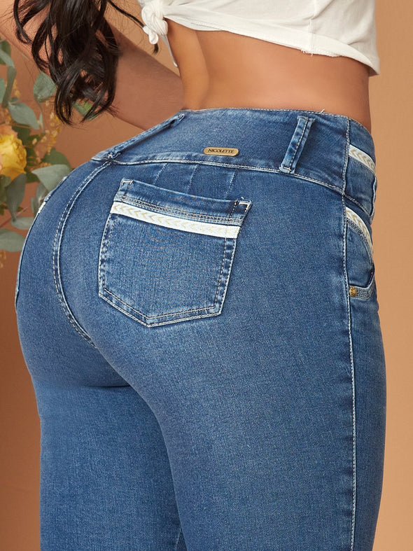 back view butt lift colombian jeans medium blue white line details