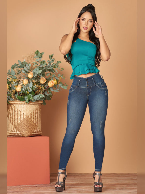 dark wash butt lift colombian skinny jeans with turquoise ctop top one shoulder