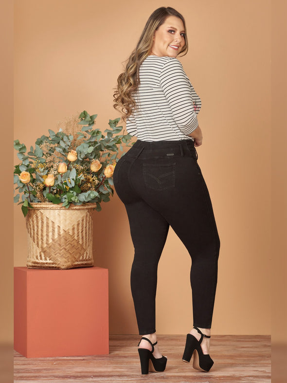back view colombian butt lift skinny jeans plus size black heels striped long sleeve