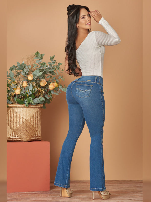 back view colombian butt lift boot cut jeans with heels and off shoulder bodysuit