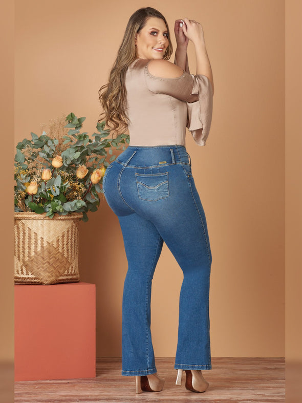 back view butt lift colombian jeans boot cut heels and silk blouse