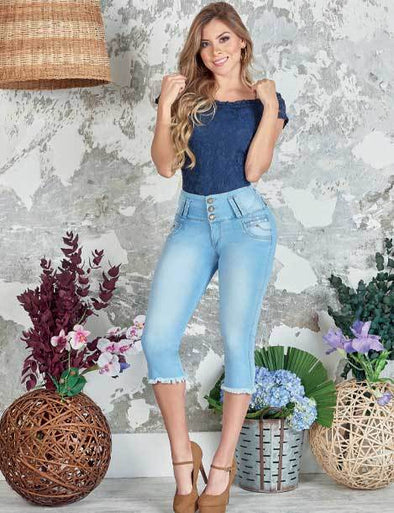 'Bestie' Push up Capri Jeans Levanta Cola 10841