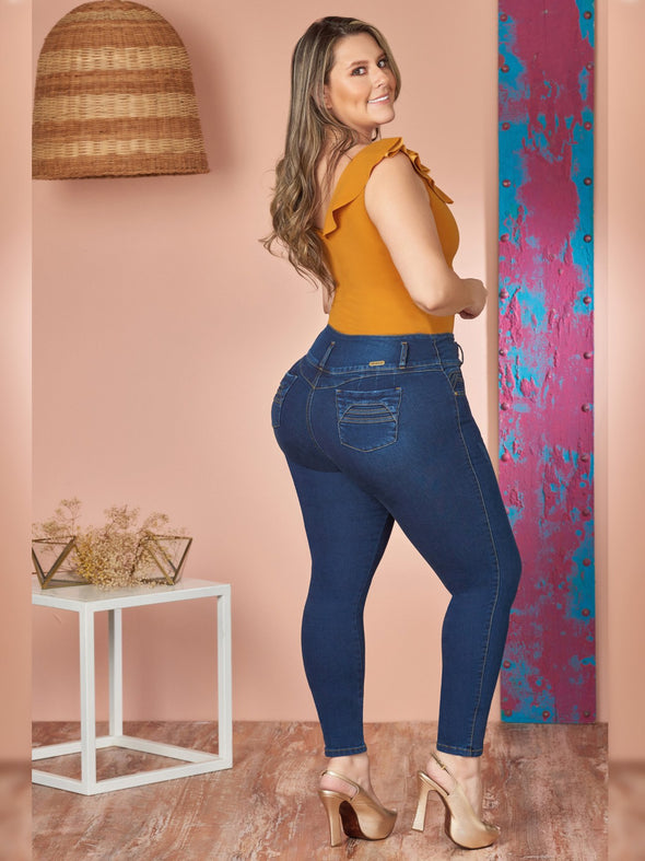 back view colombin butt lift plus size model wearing skinny jeans and nude heels mustard top