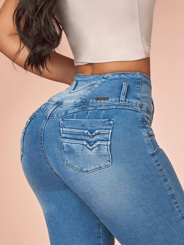 light wash butt lift jeans up close colombian