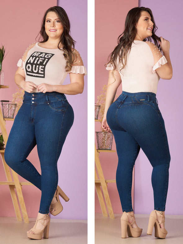 plus size colombian model wearing butt lift high waist jeans