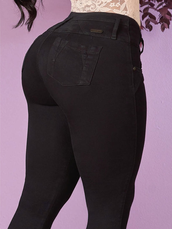 up close back view of butt lift colombian jeans with pockets