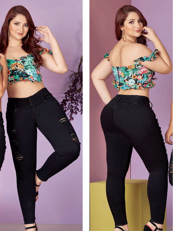 colombian woman wearing tropical crop top black butt lift jeans with distressing