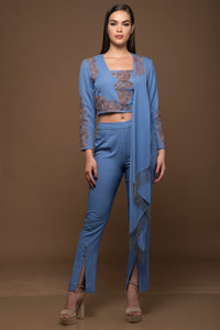 Draped Embellished Blouse and Pants