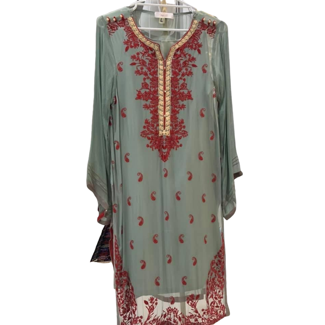 Teal and Maroon Embroidery Kurti