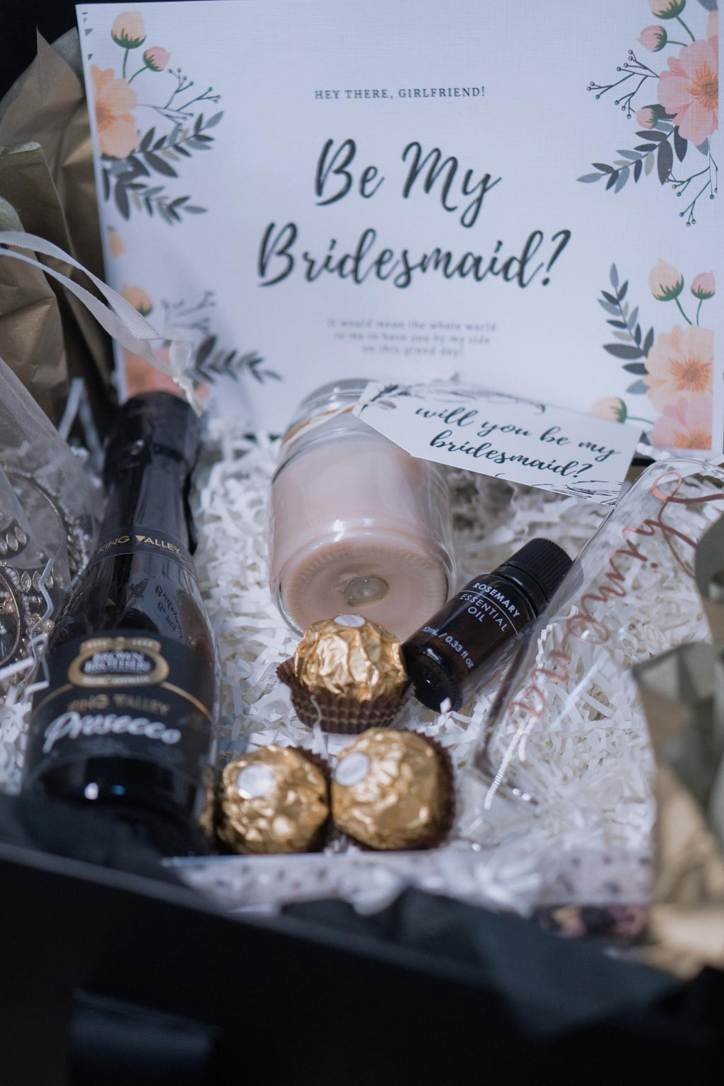 Indian Bridesmaid Proposal Box - Black & Gold #1