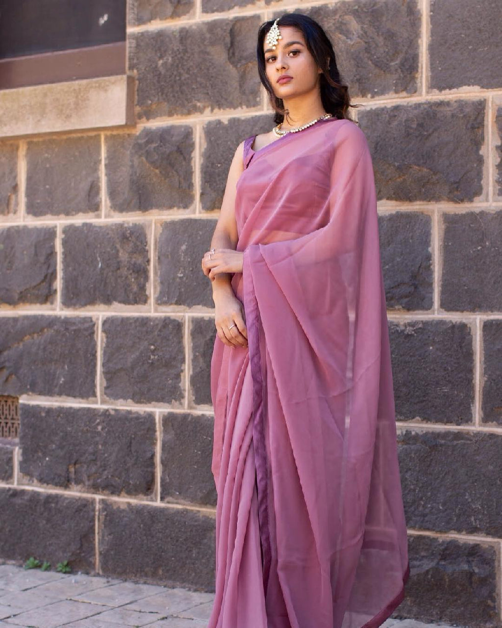Dusty Rose Saree