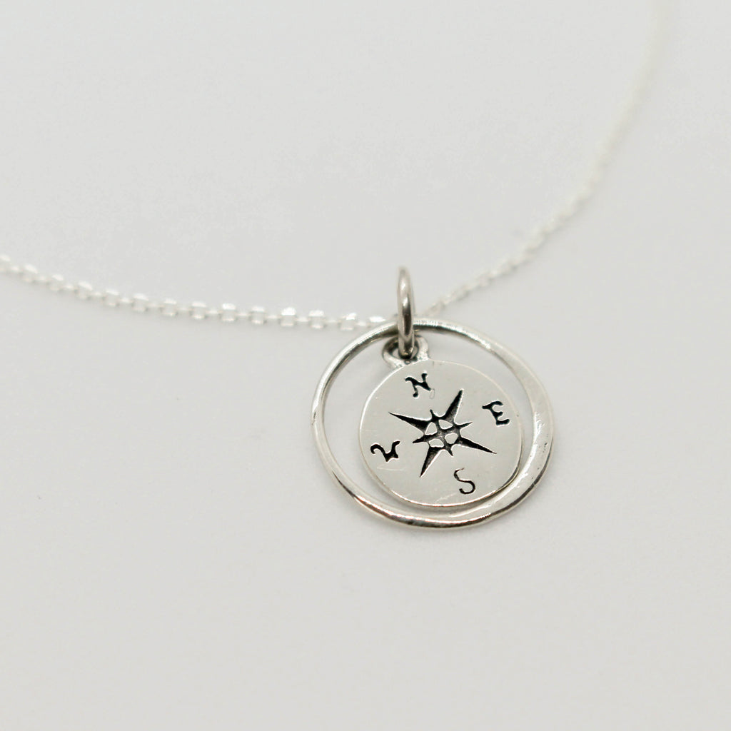 Delicate Silver Compass Necklace