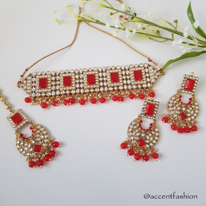 Guneet Choker Set (Gold/Red)