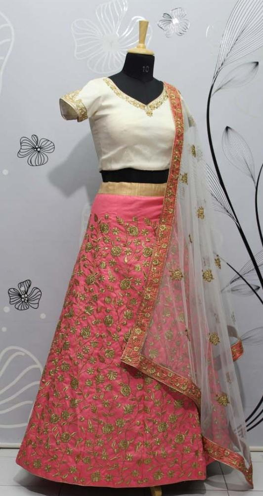 Pink Floral Lehenga with Cream Blouse